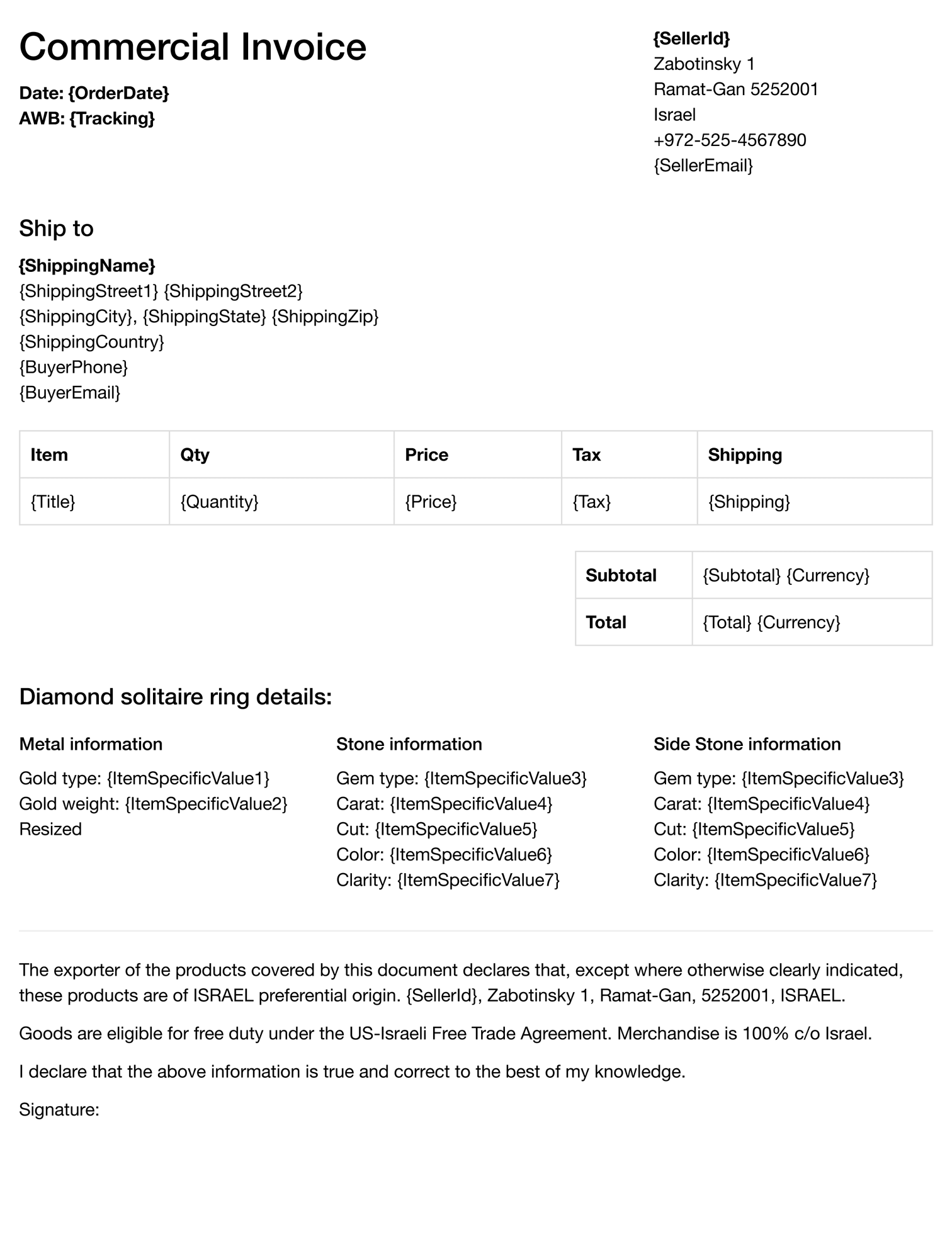 eBay jeweler declaration template